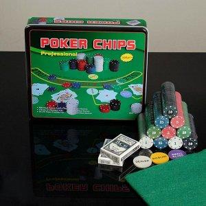 Покер, набор для игры (карты 2 колоды, фишки 500 шт,сукно) 29х33 см