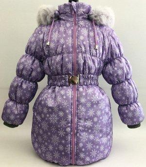 """Пальто зимнее для девочки КЗД-4 """"Алиса"""" р-р 116,122, сиреневый"""