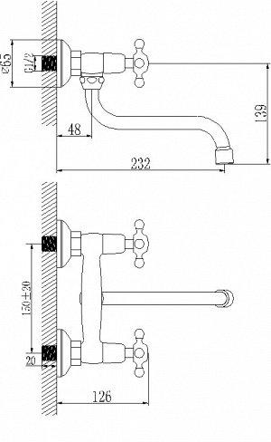 """LM2111C """"Стандарт"""" Смеситель для кухни/умывальника, настенный, хром"""
