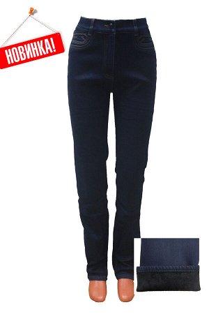 Слегка приуженные синие джинсы на ФЛИСЕ SS73006-4108F-1 рр 46