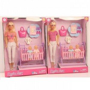 Кукла 8359 с кроваткой и детьми Defa Lusy