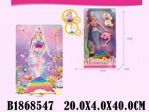 Кукла 2358-2 Русалочка со светящимся хвостом в кор.