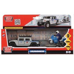 SB-18-37WB Машины металл Hummer H1 полиция 12см, инерц. + мотоцикл на прицепе в кор. Технопарк в кор.2*12шт