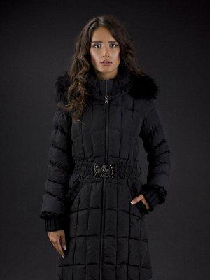 Пальто женское утеп. пух. SANDRA (черный) енот Черный