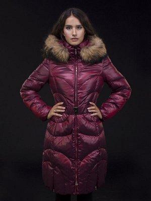 Пух. пальто жен. LAURA енот натур. (бордо) бордовый