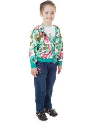 Комплект для девочки: куртка, джинсы и толстовка из хлопка