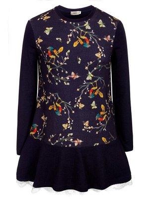 Платье-туника с кружевом и термоаппликацией