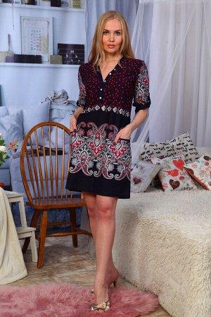 """Туника Производственная компания """"Лиза"""" предлагает купить трикотажное платье-тунику прямого покроя на пуговицах. Рукав 3\4 с застежкой на пату. Рукава оформлены в сборку хлястиком. Расцветка - абстрак"""