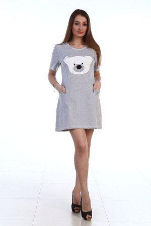 """Платье Платье """"Белый Мишка"""" кулирка (М-451). Кулирка (хлопок 55, п\э 35, лайкра 10)"""