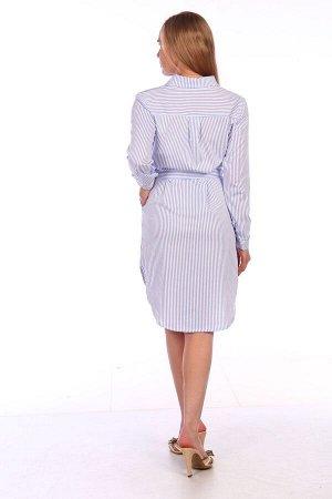 Платье Женское платье – рубашка из трикотажа, отрезное по линии талии, с отложным воротником, с застежкой на пуговицы до талии и длинным втачным рукавом на манжете. Платье на завязывающемся поясе, с д