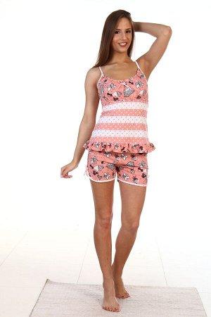Пижама Трикотажная женская пижаму с шортами. Легкая модель из кулирки - мягкой, натуральной, хлопковой ткани. Майка на бретелях с отрезной кокеткой, лиф собран на резинку, низ отделан рюшами. Изделие