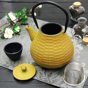 """Чайник с ситом 1 л """"Плетение"""", цвет жёлтый"""