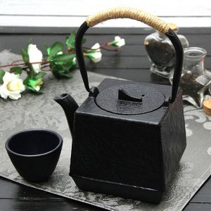 """Чайник с ситом 700 мл """"Бокей. Этно"""" с эмалированным покрытием, цвет черный"""