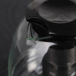 Чайник заварочный «Фиона», с металлическим ситом, 1,1 л, цвет чёрный