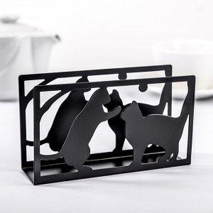 Салфетница «Кошки», 14?4?8 см, цвет чёрный