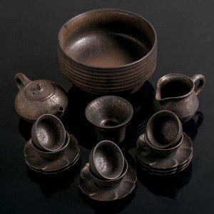 """Набор для чайной цер 18пр """"Гейша"""" чайник 150мл,6 пиал 50мл,6 блюдец,чаХай 100мл,сито,тарелка   44913"""