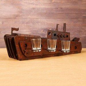 """Мини-бар деревянный """"Корабль"""", тёмный, 50 см"""