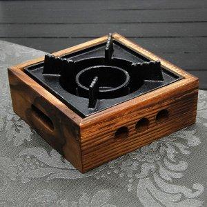 Подставка для подогрева блюд, 20,5?20,5?6,6 см, с деревянной подставкой