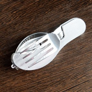 Набор туриста 4в1: нож, вилка, ложка, открывалка, рукоять рельефная