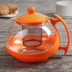 Чайник заварочный «Яркость», с металлическим ситом, матовый, 1,25 л, цвет МИКС
