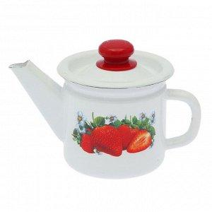 Чайник заварочный с пластиковой кнопкой «Клубника садовая», 1 л, фиксированная ручка, цвет белый