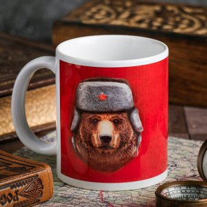 Кружка «С 23 февраля» медведь, 330 мл
