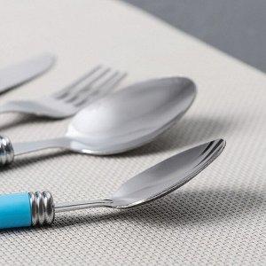 Набор столовых приборов «Хэнди», 24 предмета, на пластиковой подставке, цвет синий