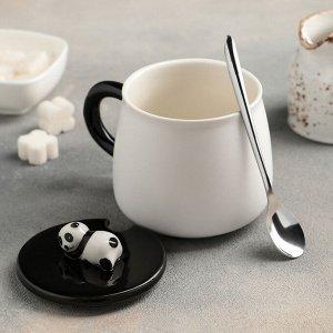 Кружка «Панда», 500 мл, с керамической крышкой и ложкой