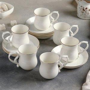 Сервиз кофейный «Бланш», 12 предметов: 6 чашек 100 мл, 6 блюдец 12 см