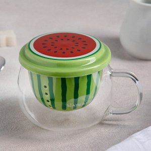 Кружка «Фрутти», с керамическим ситом и крышкой, 360 мл, цвета МИКС