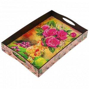 """Поднос с ручками """"Ваза с цветами"""", деревянный, 30,4х20,4х4,7см"""
