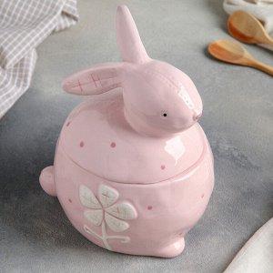 """Конфетница с крышкой """"Пасхальный кролик"""" , цвет розовый"""