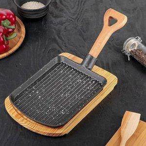 Сковорода «Лопата Гриль», 23?18 см, на деревянной подставке