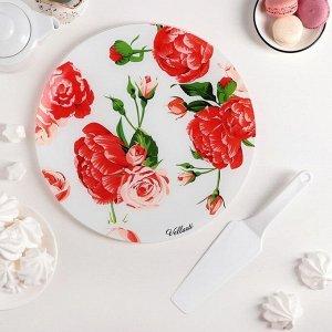 Подставка для торта «Розовый рай», d=30 см, с лопаткой, в подарочной упаковке