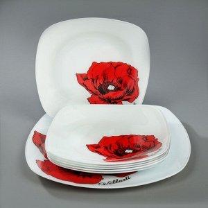 Сервиз столовый «Мак», 7 предметов: 1 шт 27,1 см, 6 шт 20,5 cм, в подарочной упаковке