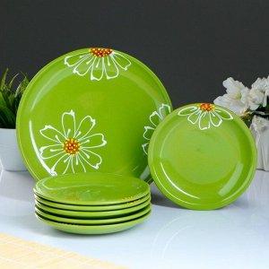 """Набор для блинов """"Псковский"""", 7 предметов: блюдо 24х16см, зелёный"""