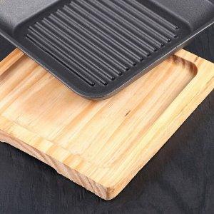 Сковорода «Квадрат.Гриль», 18 см, на деревянной подставке