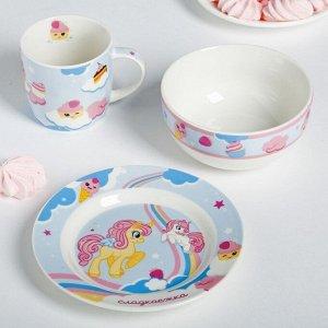 Набор посуды «Сладкоежка»: кружка 250 мл, глубокая тарелка 430 мл, тарелка ? 15 см