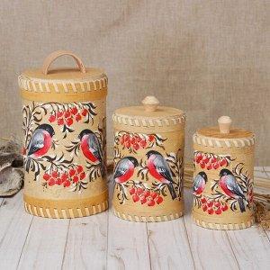 Набор туесов «Птички», ручная роспись, 3 шт, размер туеса: 18?12?12 см, береста