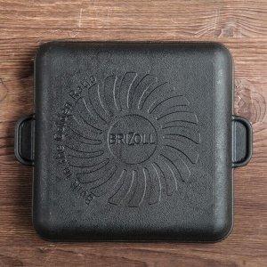 "Сковорода чугунная квадратная гриль ""ХОРЕКА"" с подставкой, 180 х 180 х 25 мм, ТМ BRIZOLL"
