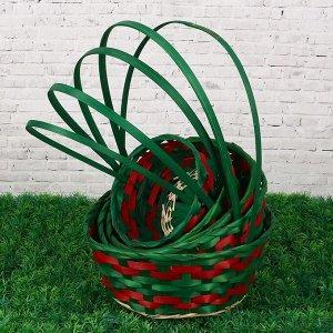 Набор корзин плетеных (бамбук), D16 HH29/D19 HH31/D21 HH33/D24 HH35/D26 HH39, зелёные, 5шт