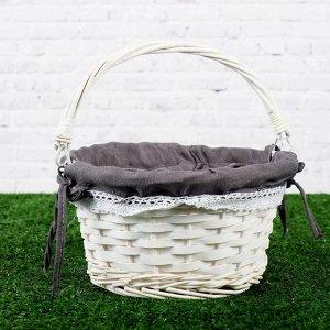 Корзина плетёная, ива, белая, чёрный декор, большая