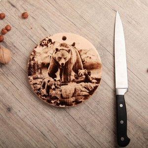 Доска из массива кедра «Медведь», круглая, 18 x 18 см