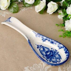 Подставка - ложка «Цветок», 6х23,5 см, гжель