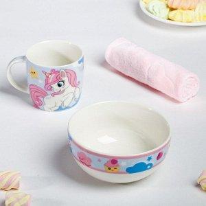 Набор посуды «Сладкоежка»: кружка 250 мл, тарелка глубокая 430 мл, полотенце 30 ? 30 см