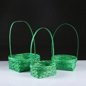 Набор корзин плетёных, зелёных, бамбук, 3 шт.