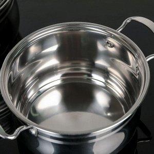 Набор посуды 3 шт: кастрюли 18/20/22 см, стеклянные крышки, капсульное дно, индукция