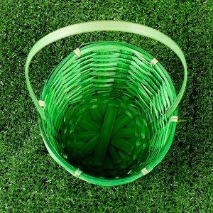 Корзина плетёная, бамбук, зелёная, (цилиндр)