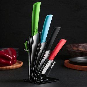 Набор кухонный, 5 предметов: 4 ножа 7 см, 9,5 см, 15 см, 15 см, овощечистка, на подставке, цвет МИКС 585397