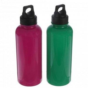 Бутылка для воды 650 мл, спортивная, туристическая, с карабином, микс, 7х22 см